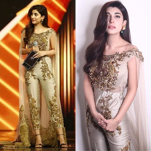 Urwa Hocane Is Wearing A Jumpsuit With Cape By Designer Tabassum Mughal The Fitting Near The Crotch Area Is Making I Pakistani Dresses Bridal Dresses Fashion