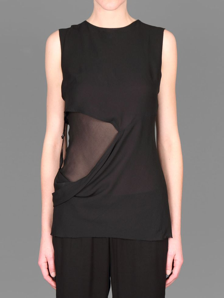 ANN DEMEUELMEESTER DOUBLE LAYERED GEORGIA TOP WITH ADJUSTABLE MINI BELT AT SIDE
