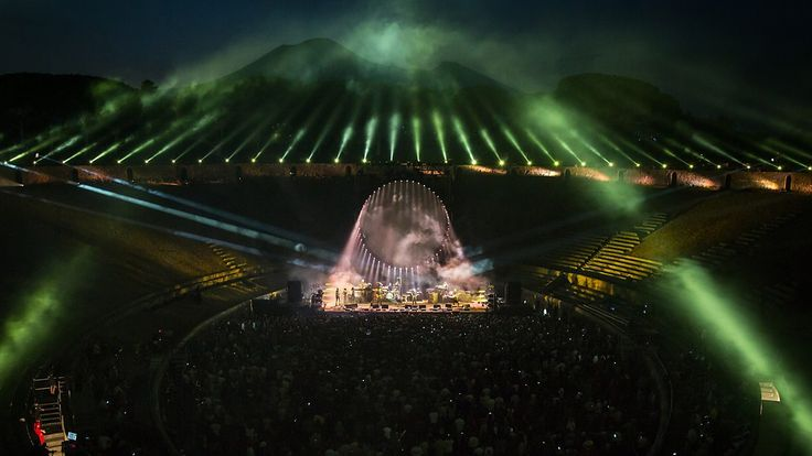 Former Pink Floyd member David Gilmour performs at the Pompeii Amphitheatre.