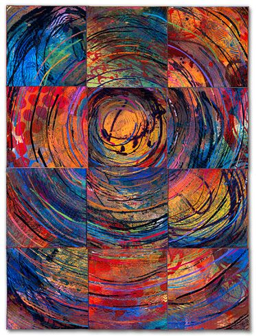 "Sue Benner: Artist - Nest Gallery 2002 62 x 46.5"" dye and paint on silk, fused, mono-printed, machine quilted"