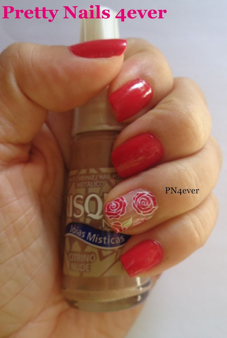 Pretty Nails 4ever - Unhas Vermelhas Decoradas com Rosas - BPL-029