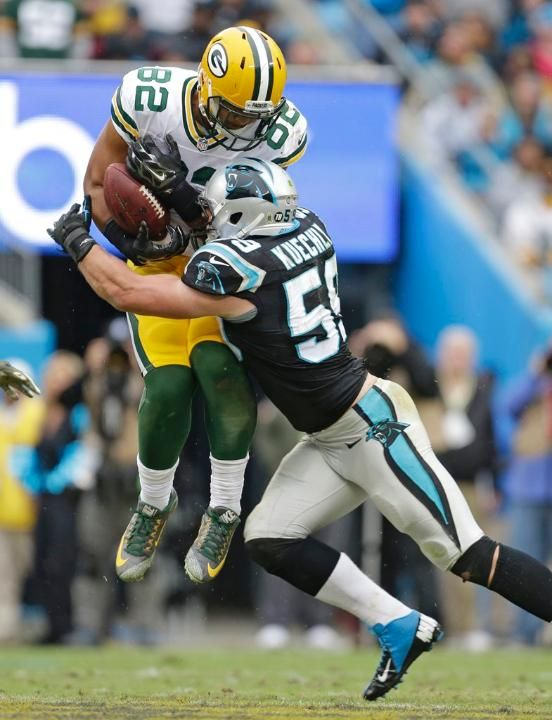 Packers Panthers Football Luke Kuechly, Richard Rodgers