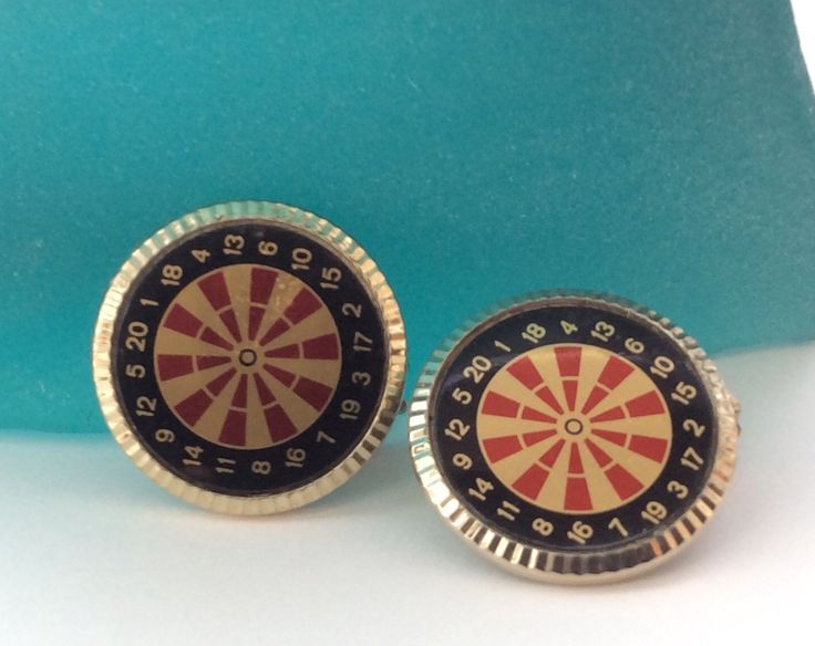 Play Darts? Dart Board Motif Vintage Clip On Earrings, Perfect for Pub Night! by TheHUNTantiques on Etsy