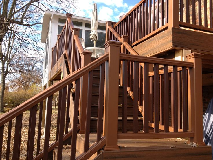 lantern spindles stair with landing and spiced rum decking deck