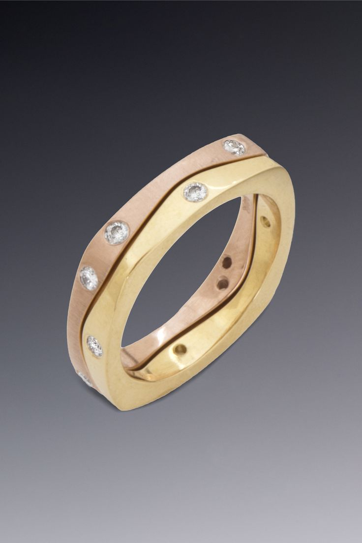 Rose And Yellow Gold Puzzle Ring Made In Two, Separate Pieces, So You