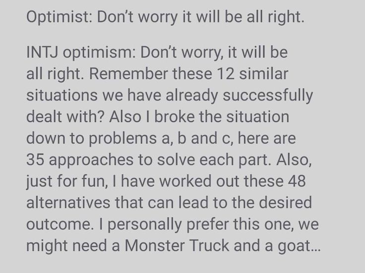 """INTJ Optimism. 