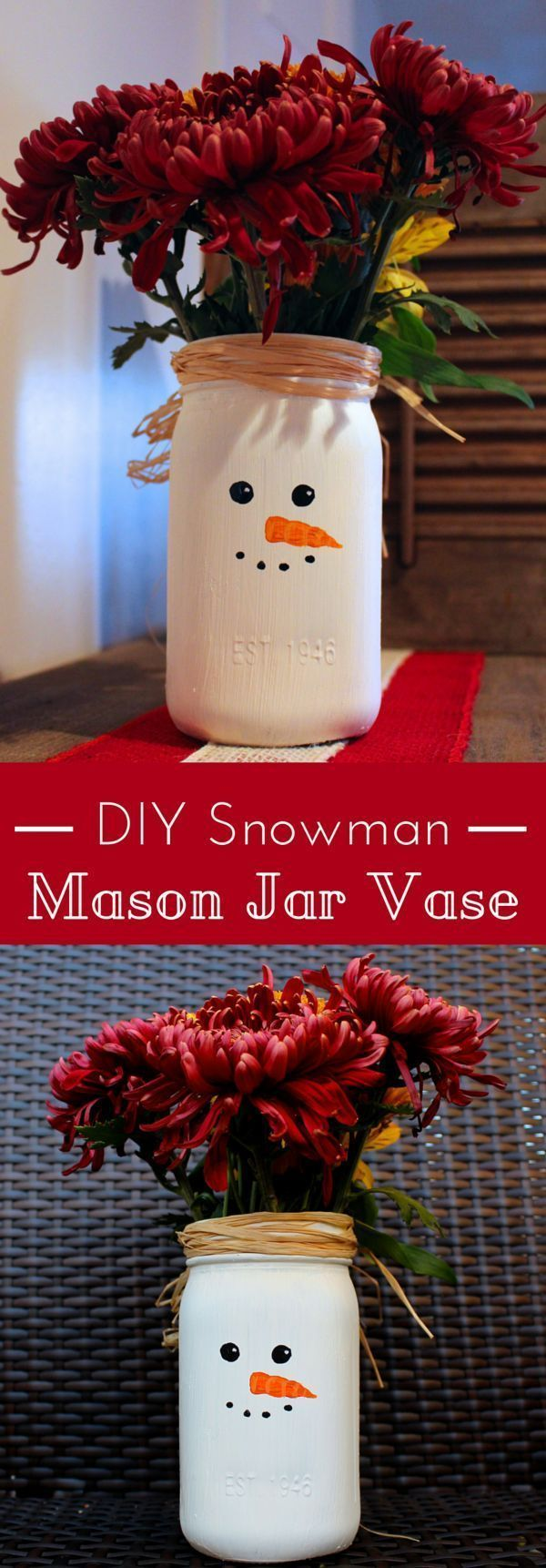 Simple DIY Snowman Mason Jar Vase. Easy Christmas decor idea also makes the perfect gift. Easy crafts to do with your kids or just for yourself.
