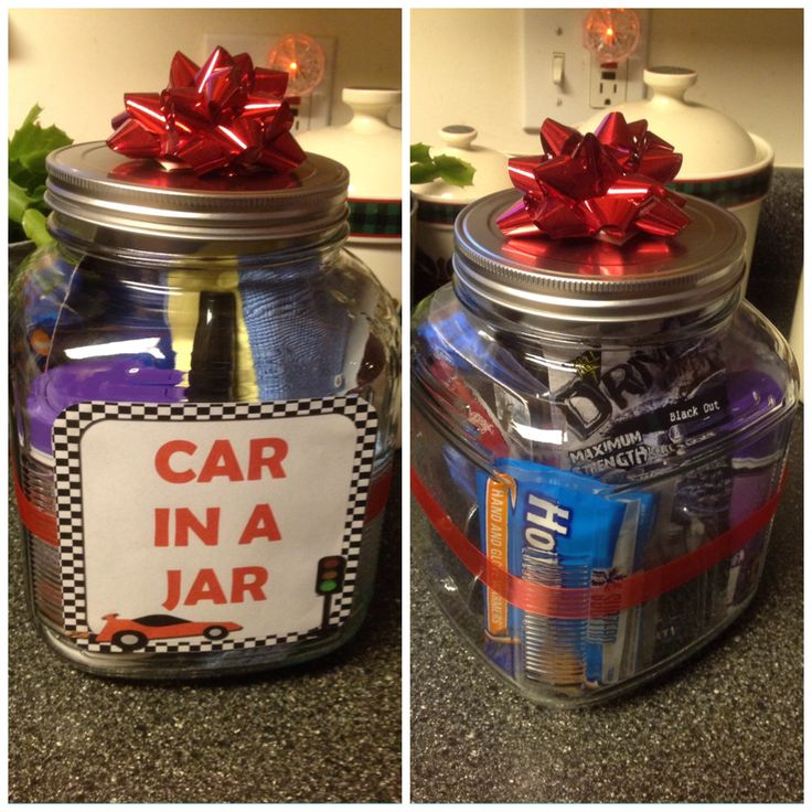 """Car in a Jar"" gift idea for men. The jar contains: cleaning cloth, anti-fog sponge, small container of cleaning wipes, air freshener vent sticks, hand warmers, deer warning device, blind spot mirrors, tire gauge, scratch remover pen, defrost spray, and a small license plate that says ""I love you"" for a cute touch. I used a gallon-sized cracker jar. Everything was around $30 total."