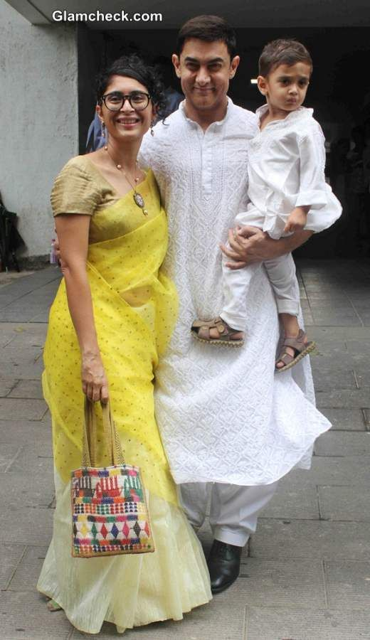 Aamir Khan with wife Kiran Rao and son Azad