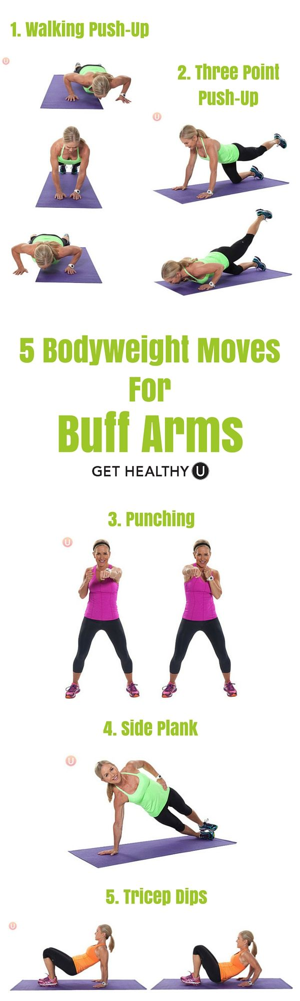 Some of the very best arms workouts are completely equipment-free. Bottom line is great arms can come in practical ways. Here are five great bodyweight moves for buff arms that require just YOU!