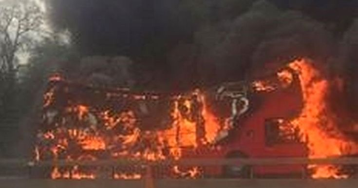 The bus erupted into a huge inferno causing traffic to build-up and hours of delays for drivers