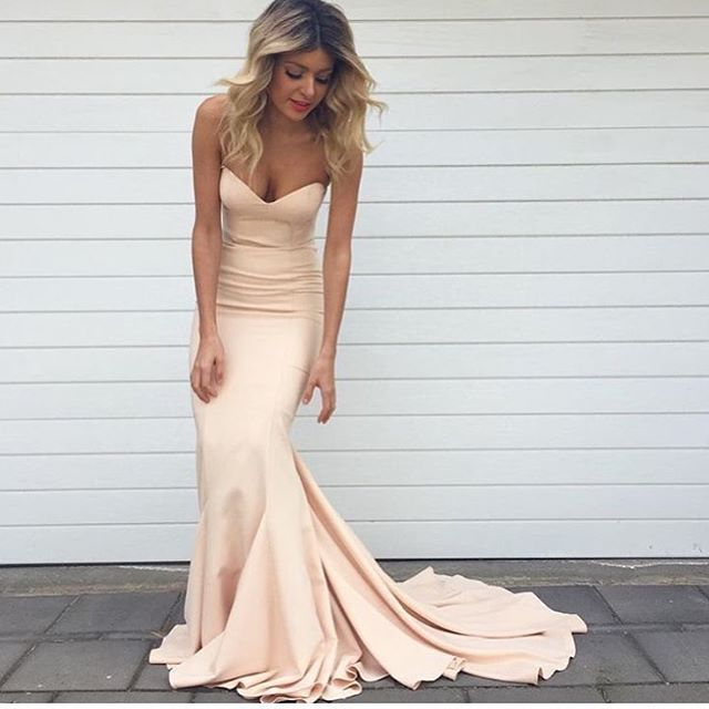 Loving this perfect strapless nude Arianna  dress http://athenabridal.storenvy.com/products/17666159-long-prom-dress-cheap-prom-dress-popular-bridesmaid-dress-mermaid-bridesm