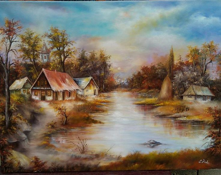 lacul de la marginea padurii. Tablou de Radu Liliana