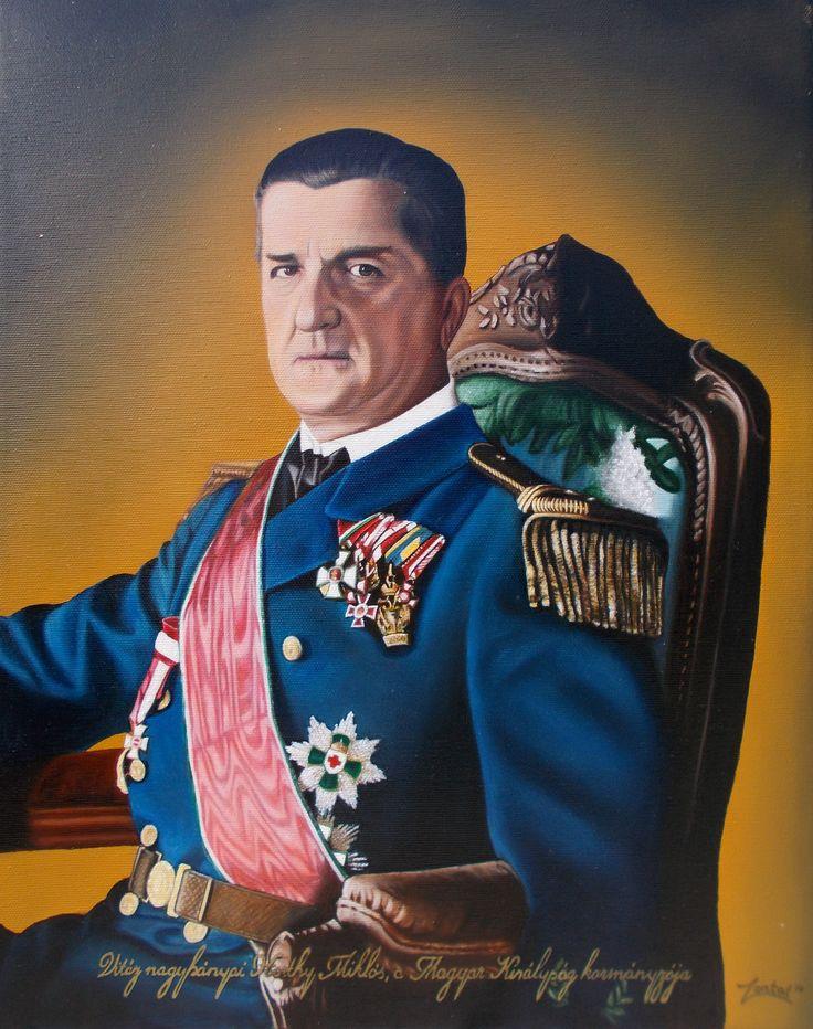 Vitéz nagybányai Horthy Miklós, a Magyar Királyság kormányzója portréja 40x50 cm. olajfestmény (vászon)
