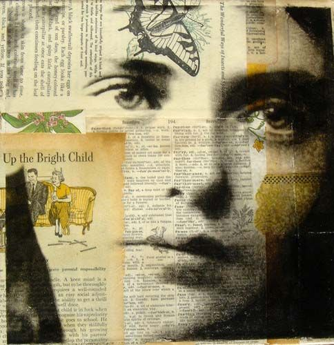 ''Caitlyn'' collage portraiture by Michelle Caplan - Each of her pieces has it's own narrative; telling the story of the person behind the image.