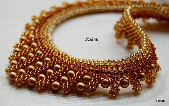 Gold honey brown pearl seed bead necklace Statement by Szikati