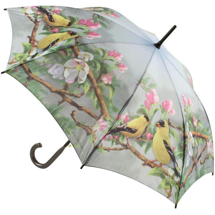 Hautman Brothers Art Print Walking Length Umbrella - Gold Finches DIS - Brolliesgalore