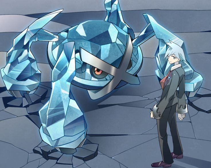 1boy claws closed_mouth crack formal grey_eyes long_sleeves looking_at_viewer looking_back metagross metal pokemon pokemon_(game) pokemon_oras red_eyes shiny silver_hair spiky_hair suit tsuwabuki_daigo