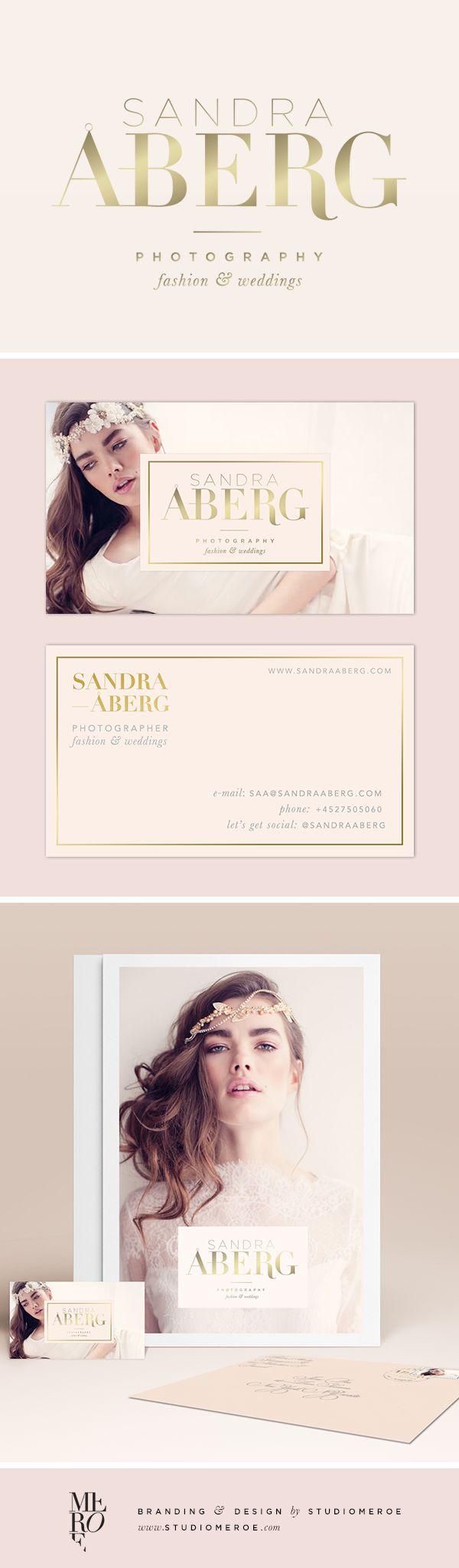 Branding for Sandra Aberg, wedding & fashion photographer. Feminine logo, business card design, and other marketing materials designed by @studiomeroe | Mood: Gold + blush |