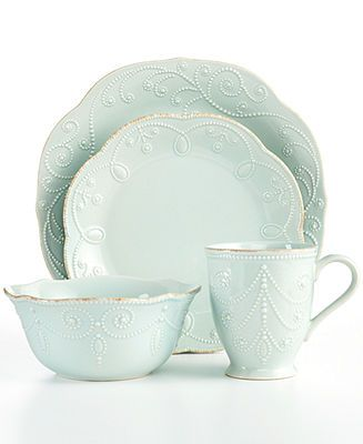 Lenox Dinnerware, French Perle Ice Blue 4 Piece Place Setting - Casual Dining - Kitchen - Macy's. I wonder if E will hate this!