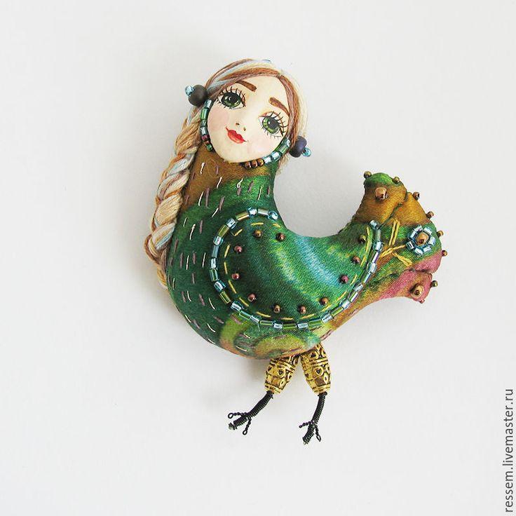 """Купить Брошь """"Птица радости"""" - брошь, птичка, райская птица, оригинальный…"""