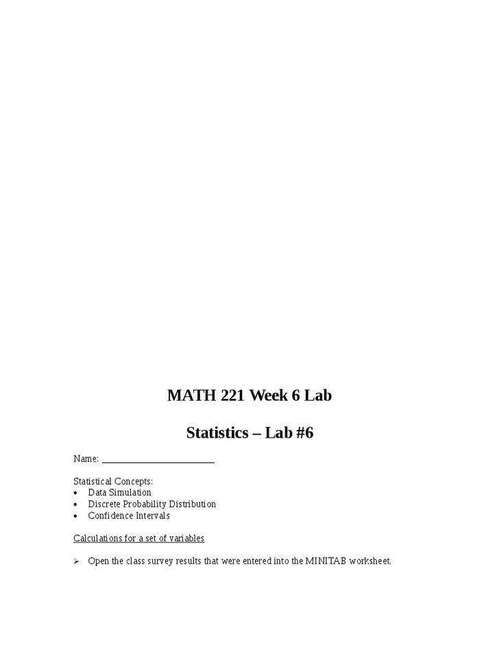 math 221 devry week 4 lab Math 221 nbsp example format week 2 lab submitted by insert name here remove this note prior to submitting your labs should be well organized with results clearly.