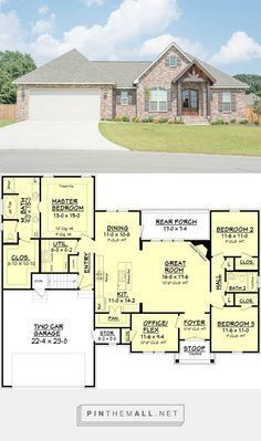 Craftsman Style House Plan - 3 Beds 2 Baths 1842 Sq/Ft Plan #430-89 - created via https://pinthemall.net