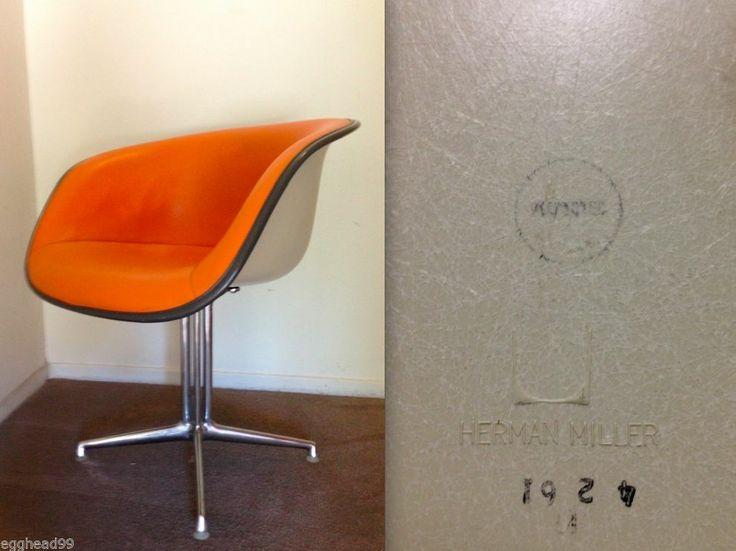 Eames alexander girard la fonda vintage herman miller arm chair orange parchm - Herman miller occasion ...