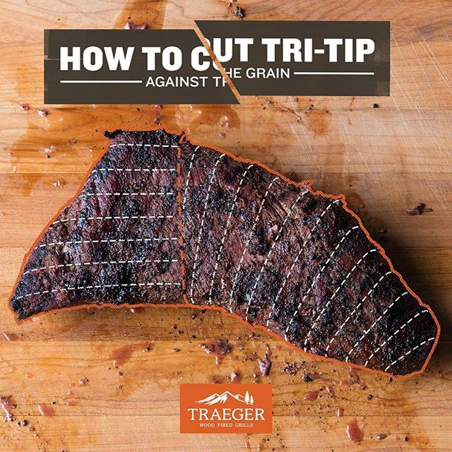 #BBQtruth: There are two different grains within tri-tip. For maximum tenderness, always slice against the grain. After cooking, cut the tri-tip where the two grains intersect, then thinly slice each piece perpendicular to the grain.