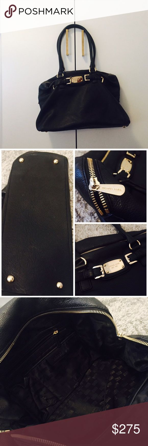 Authentic Michael Kors Black Bag In a very great condition. Gold hardware. It is big enough to be your travel bag. Stay chic while traveling! :) 5 pockets inside. Michael Kors Bags