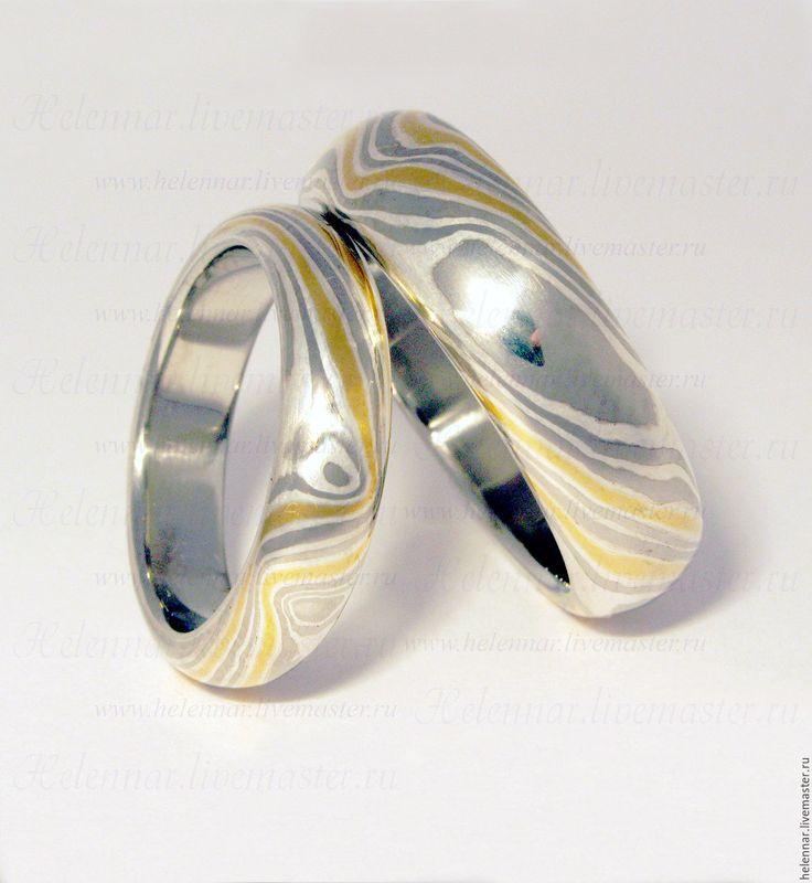 """Купить Обручальные кольца """"Платиновые"""" - мокуме гане, мокуме, золото, серебро, платина, палладий"""