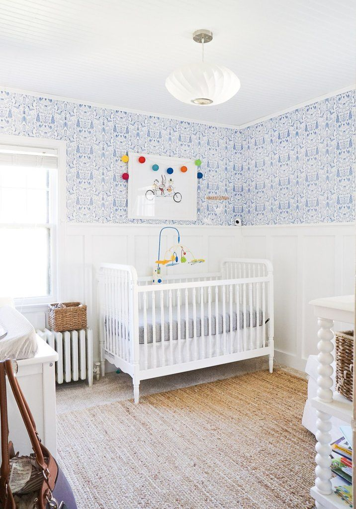 Bright blue & white nursery designed by Erin Francois of Francois et Moi, featuring Hygge & West Nethercote (Blue) wallpaper