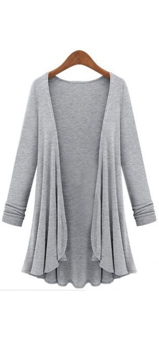 light gray open cardigan