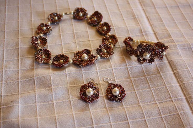 crochet necklace, earings and bracelet