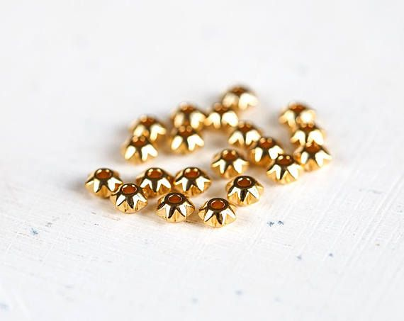 2981 Star spacer 5mm beads Small beads Gold plated beads Gold