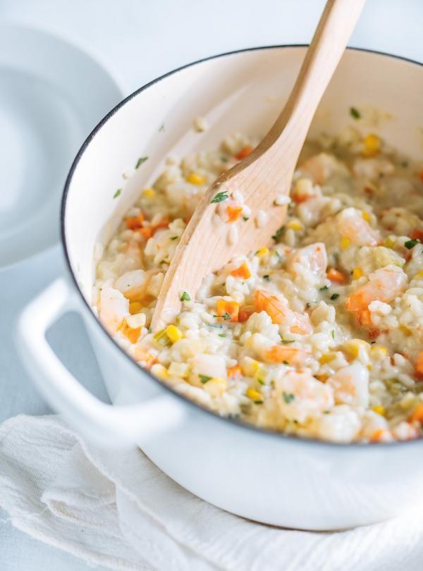 Recette de Ricardo de risotto aux crevettes de type chowder