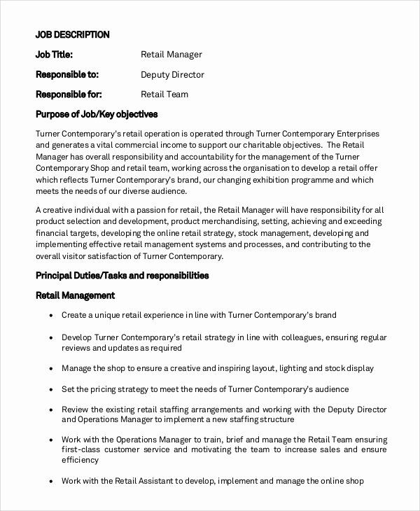 Retail Job Description Resume Best Of Sample General Manager Job Description 9 Examples In In 2020 Retail Manager Job Description Words For Teacher