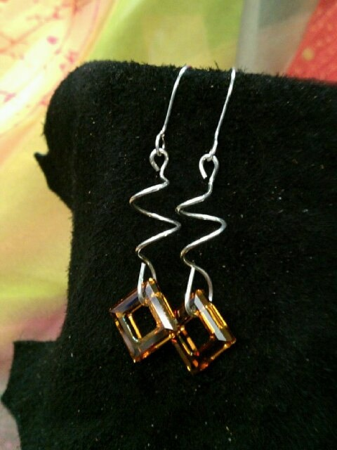Square Swarovski on twisted wire Earrings by BelindasCreations, $25.00