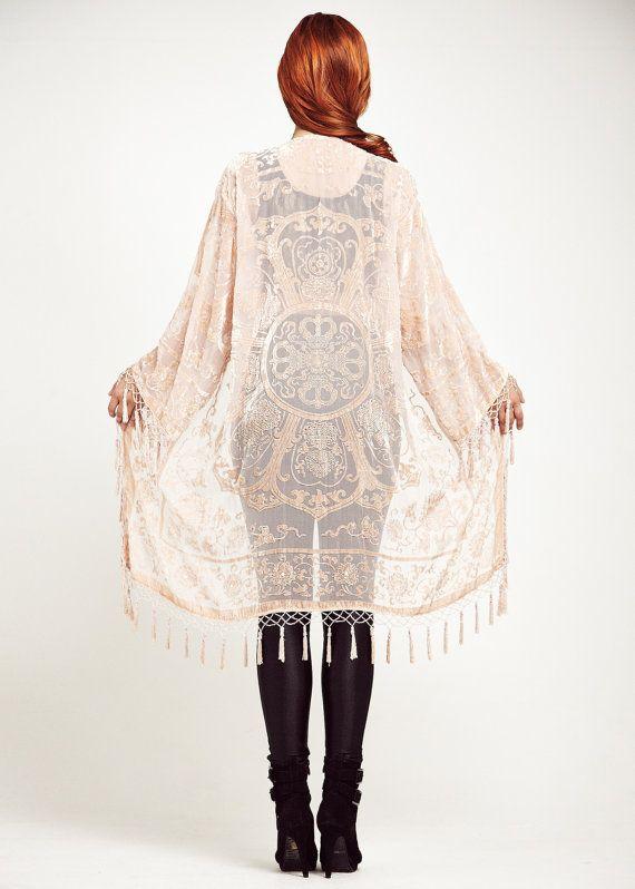 Pink Velvet Fringe Kimono Jacket  Baby Lace by shevamps on Etsy, £99.00