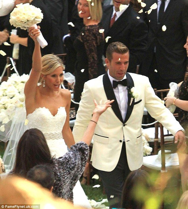 Jason Wahler rocks a white tux with black lapels and pocket trim for his #groom #wedding style