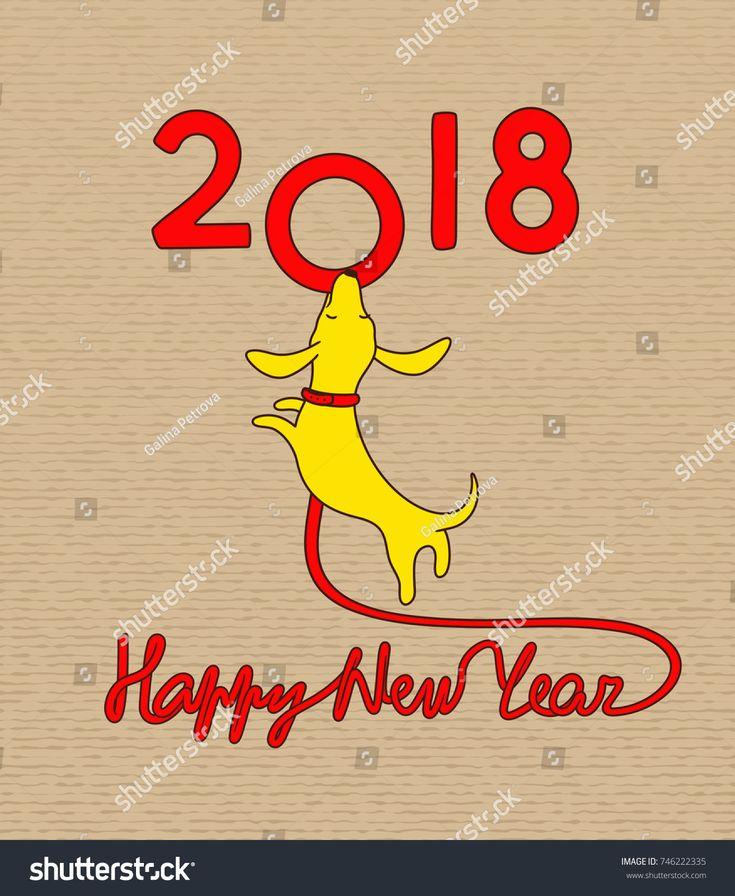 Yellow dog, symbol of new year 2018. Vector illustration