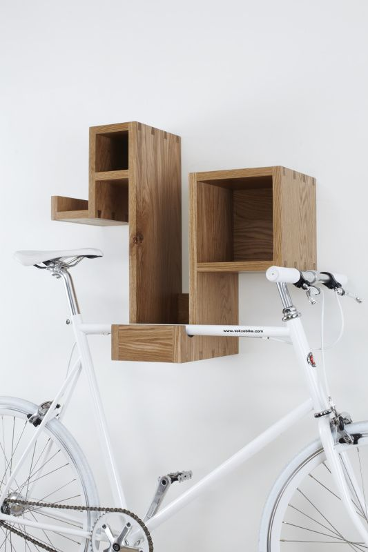 Pedal Pod - oak by Tamasine Osher DesignAmazing hall storage/shelving including bike hook, brilliant idea
