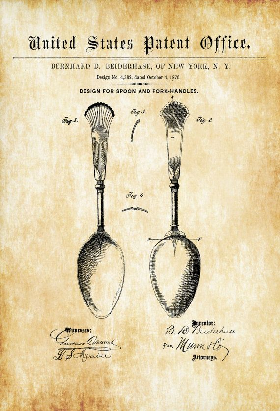 1870 Osiris Flatware Spoon Patent - Patent Print Dining Room Decor Antique Silverware Vintage Spoons Kitchen Decor Restaurant Decor by PatentsAsPrints