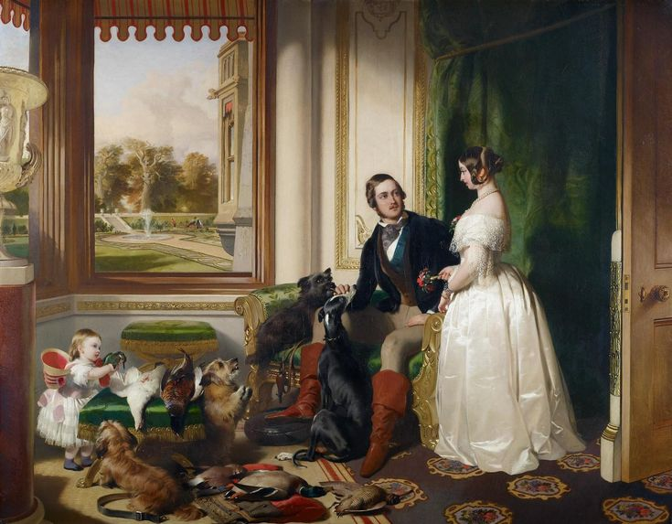 """""""Windsor Castle in modern times; Queen Victoria, Prince Albert and Victoria, Princess Royal"""", Sir Edwin Landseer, 1843; Royal Collection Trust 406903"""