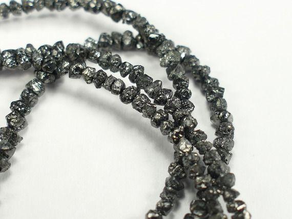 1,8-3mm x1 carat de perle de Diamant noir brut percé lot pour bijouterie bracelet mariage (#AC328)