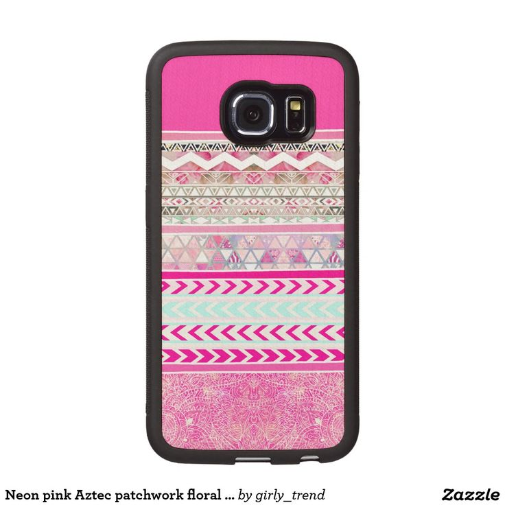 Neon pink Aztec patchwork floral paisley Wood Phone Case