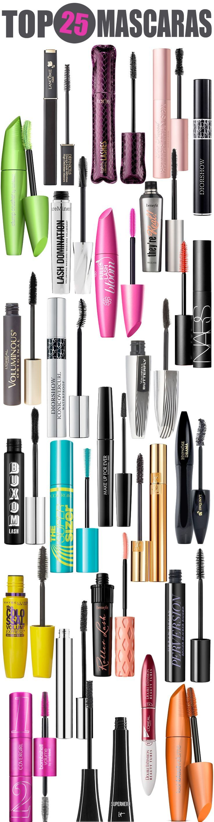Top 25 Mascaras  From drugstore mascara to department store mascara, this list has the top mascaras to keep in your makeup bag!