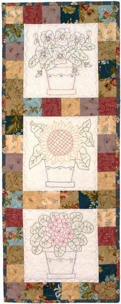 Stitchery flower wall hanging