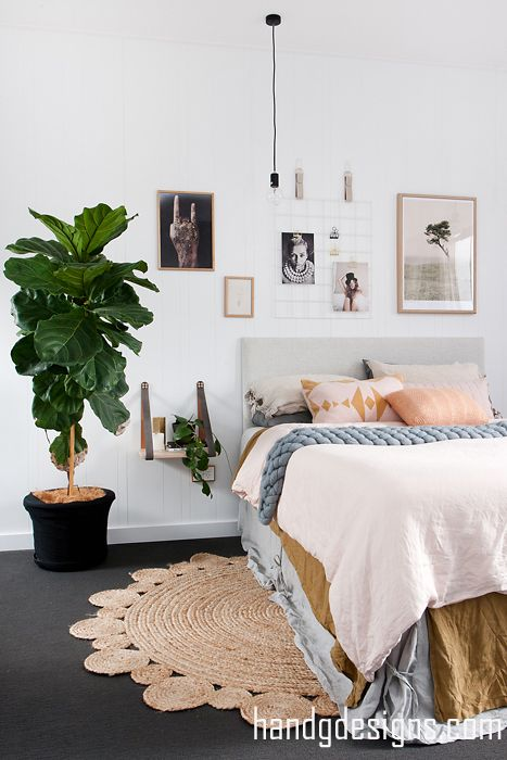 Master Bedroom by H&G Designs. Leather Strap side tale, Grid mood Board. Fiddle Leaf Fig. Indoor Plants. Vintage Linen. Boho Bedroom. Scandi Bedroom. Modern Bedroom. VJ Panelling