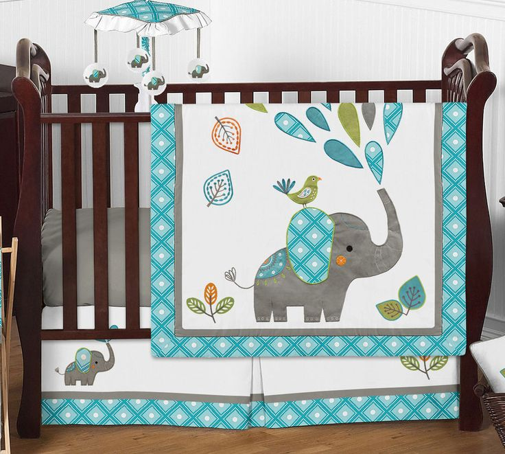 Gender Neutral Mod Elephant Teal Grey Baby Bumperless Boy Girl Crib Bedding Set | Baby, Nursery Bedding, Nursery Bedding Sets | eBay!